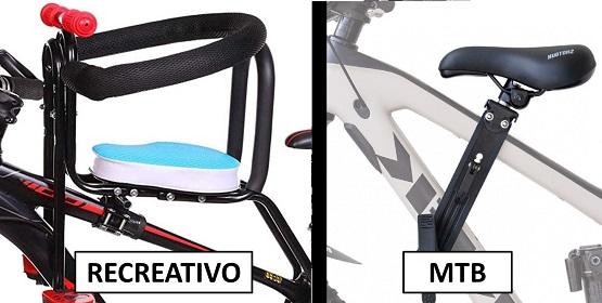 Sillas de bebe de bicicleta centrales mtb y recreativo